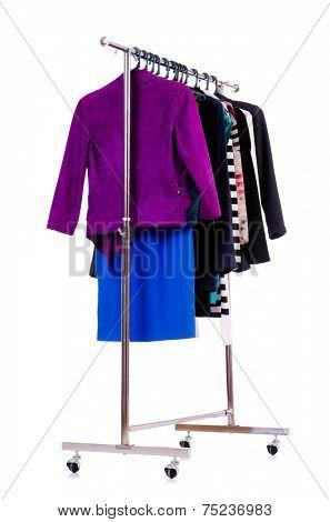 Clothing rack isolated on the white