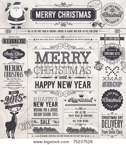 Christmas set - labels, emblems and other decorative elements. Newspaper stile.