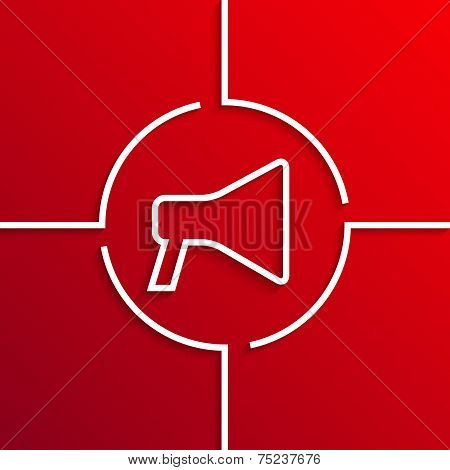 Vector modern white circle icon on red background