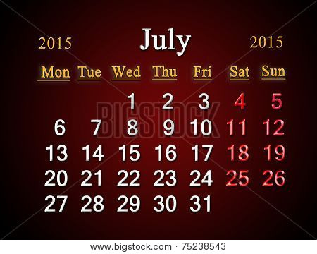 Calendar On July Of 2015 Year On Claret