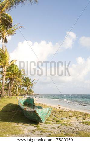 Old Fishing Kayak Boat By Caribbean Sea  Corn Island Nicaragua