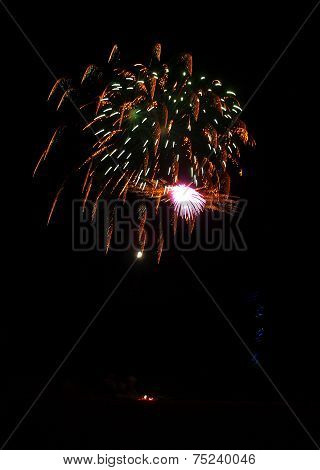Fireworks On The Beach With Led Light Trails From Kites