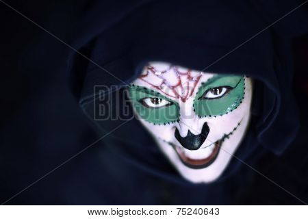 Scary portrait of an angry halloween woman
