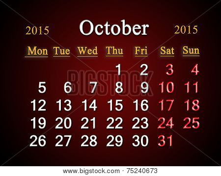 Calendar On October Of 2015 Year On Claret