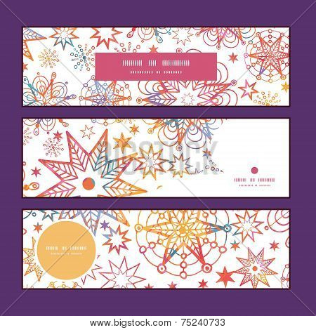 Vector textured christmas stars horizontal banners set pattern background