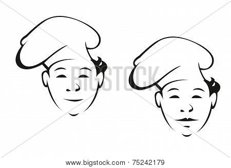 Smiling young chef in a toque