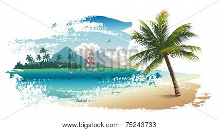 Vector illustration of the tropical beach