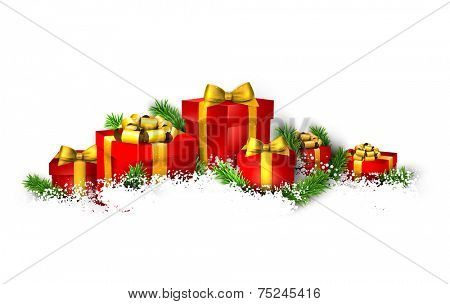 Christmas background with heap of fir branches and realistic gift boxes. Vector illustration.