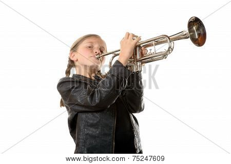 A Pretty Little Girl With A Black Jacket Plays The Trumpet