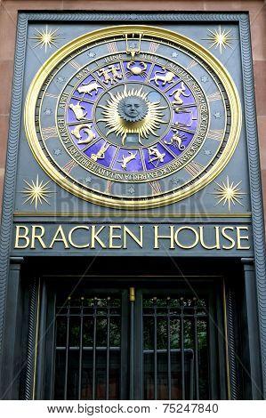Astrological clock at Bracken House