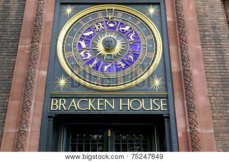 Astrological clock at Bracken House