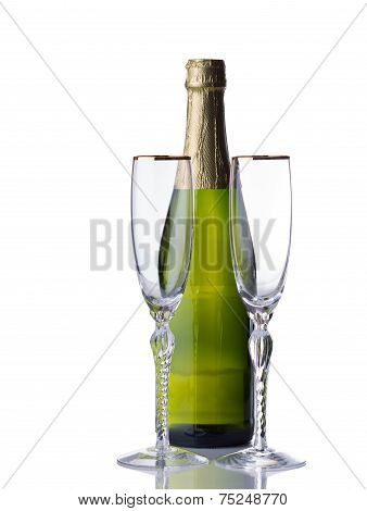 Bottle Of Sparkling Wine With Tall Glasses Ready To Celebrate