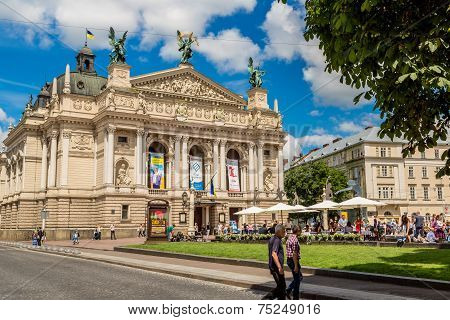 Academic Opera And Ballet Theatre In Lviv, Ukraine.