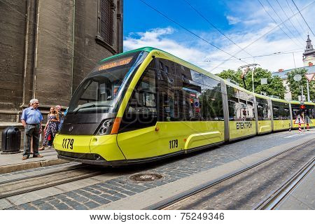 Tram In The Historic Center Of Lviv