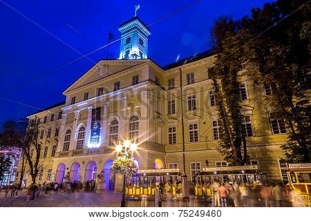 Rynok Square In Lviv At Night