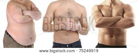Health and fitness concept.Three stage weight loss by man.