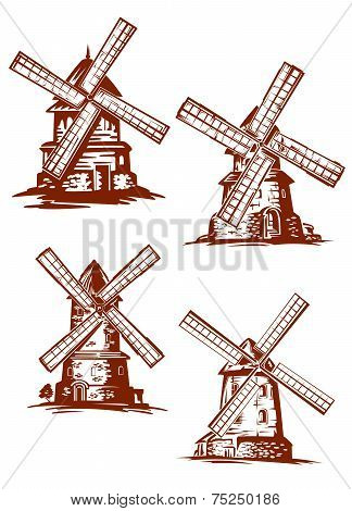 Hand-drawn windmills in vintage style