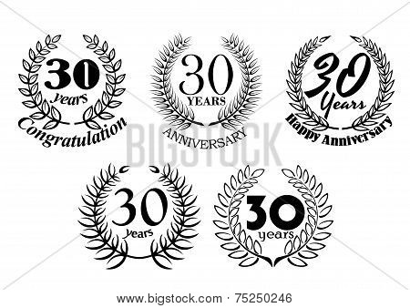 Set of 30 Years anniversary laurel wreaths