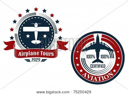 Circular aviation emblems or badges