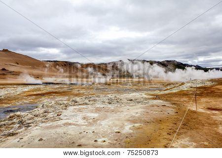 Geothermal Landscape In Iceland