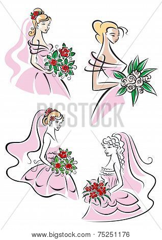 Pretty brides with floral bouquets