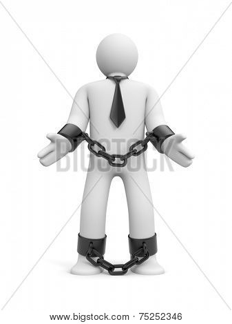 Man bound in chains