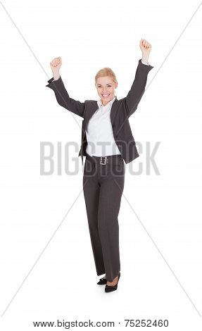 Excited Business People Cheering Over White Background