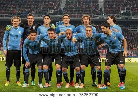 KLAGENFURT, AUSTRIA - MARCH 05, 2014: The team from Uruguay poses before a friendly soccer game between Austria and Uruguay.