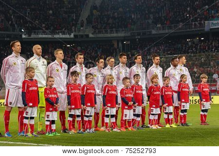 KLAGENFURT, AUSTRIA - MARCH 05, 2014: The Austrian team poses before a friendly soccer game between Austria and Uruguay.