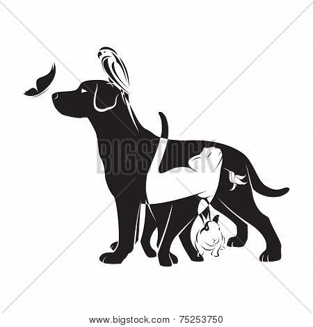 Vector Group Of Pets - Dog, Cat, Bird,butterfly, Rabbit,