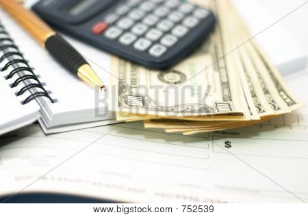 Note Pad With Pen, Calculator, Cheque Book, Cash