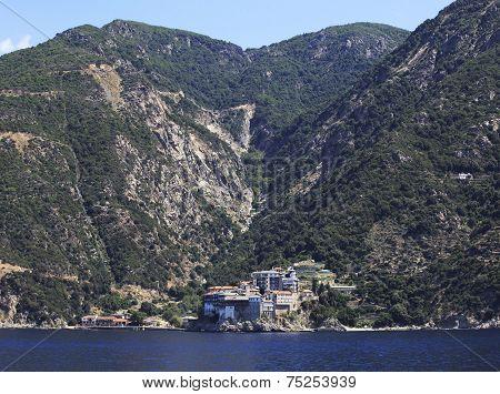 Osiou Grigoriou monastery. Holy Mount Athos.
