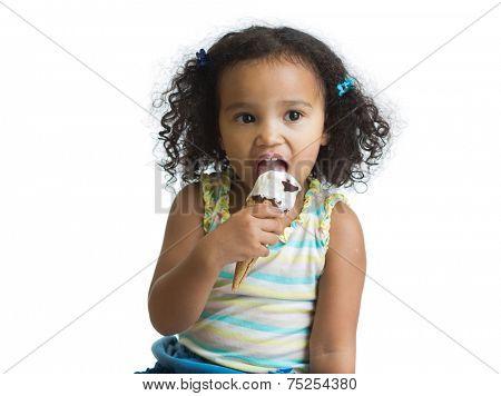 mulatto kid eating ice cream isolated on white