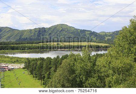 Beautiful Manzherok lake in Altai.