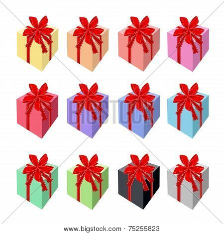 Set of Beautiful Gift Boxes with Red Ribbon