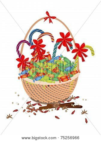 A Brown Basket of Christmas Lovely Candy