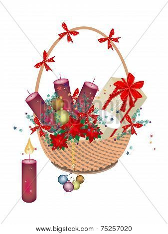 A Brown Basket of Christmas Gift and Ornament