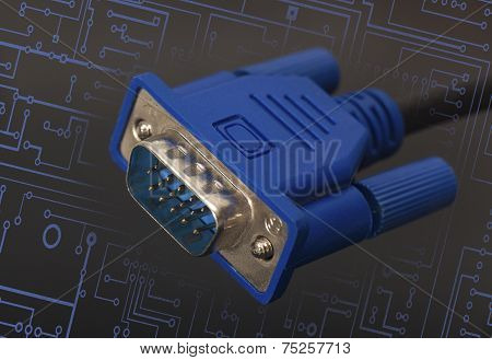 Vga Connector On Black Background