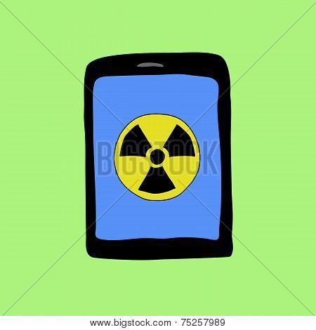 Doodle style tablet PC with virus sign