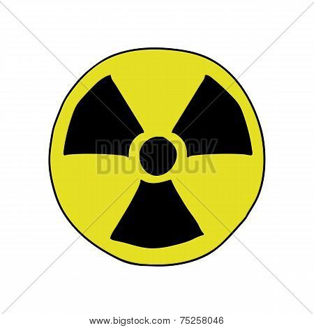 Doodle style radiation sign