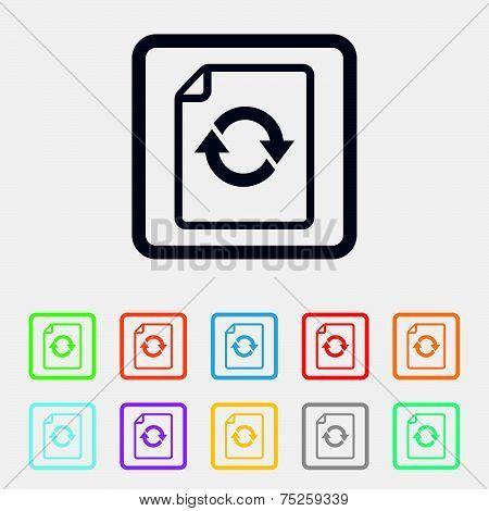 File document refresh icon. Reload doc symbol.