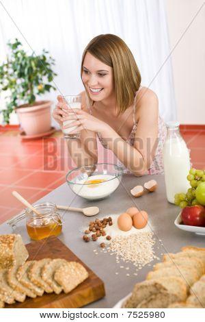 Baking - Happy Woman Prepare Healthy Ingredients