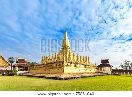 Golden Wat Thap Luang In Vientiane, Laos.