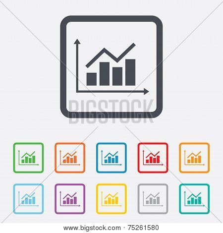 Graph chart sign icon. Diagram symbol.