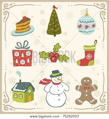 Vector illustration of Christmas icons  design set.