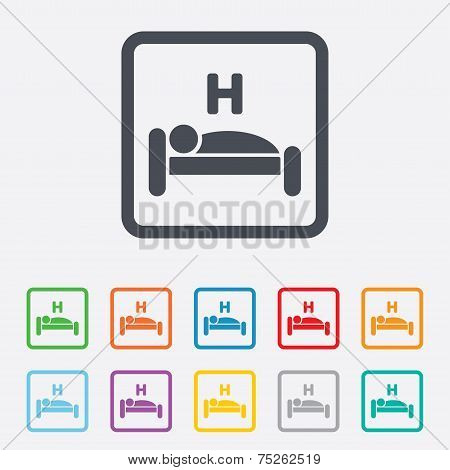 Hotel sign icon. Rest place. Sleeper symbol.