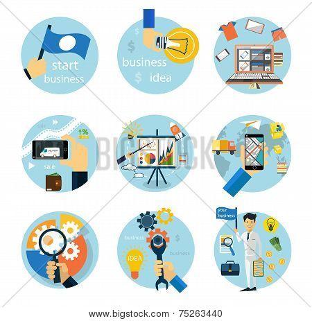Icons set for business, e-shopping, logistics