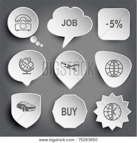 rotary phone, job, -5%, globe and gears, airliner, car, buy, globe and clock. White vector buttons on gray.