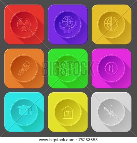 radiation symbol, protection world, globe and magnifying glass, DNA, globe and gears, wind turbine, graduation cap, library, spaceship. Color set vector icons.