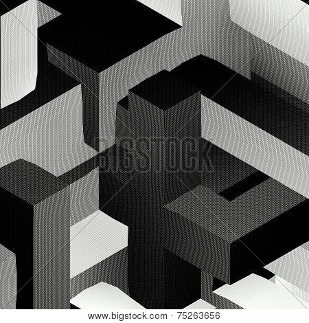 Block Shape Square Grid Pattern In Black And White